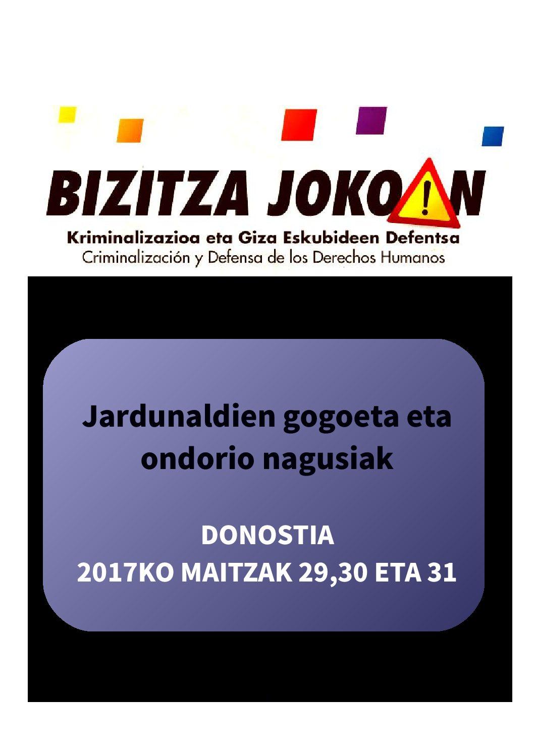 """""""Bizitza Jokoan: Kriminalizazioa eta giza eskubideen defentsa"""" Jaurdunaldia"""