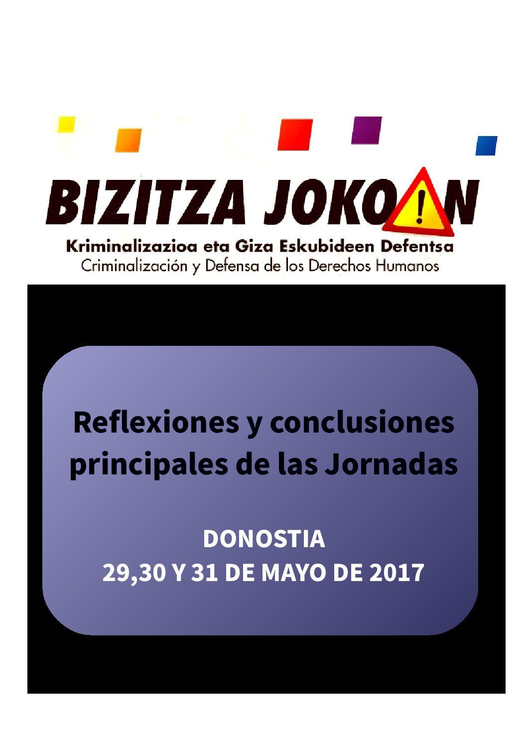 """Jornadas """"Bizitza Jokoan: Criminalización y defensa de derechos humanos"""""""